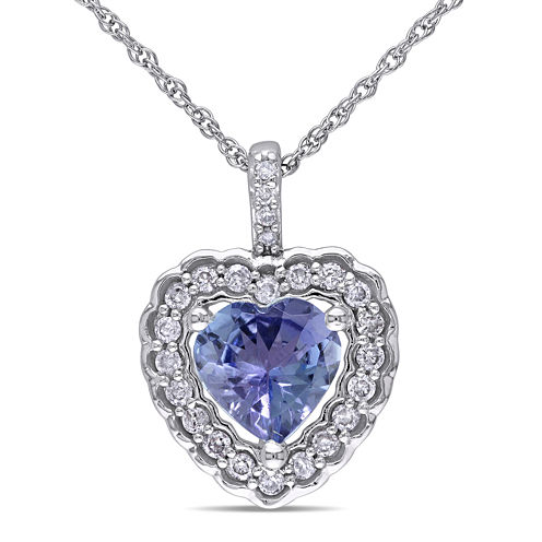 Genuine Tanzanite and Diamond Heart Pendant