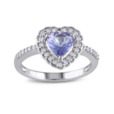 jcpenney.com | Genuine Tanzanite and Diamond 10K White Gold Heart Ring