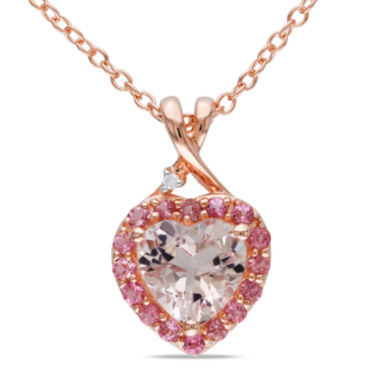 jcpenney.com | Genuine Morganite, Pink Tourmaline and Diamond-Accent Heart Pendant Necklace