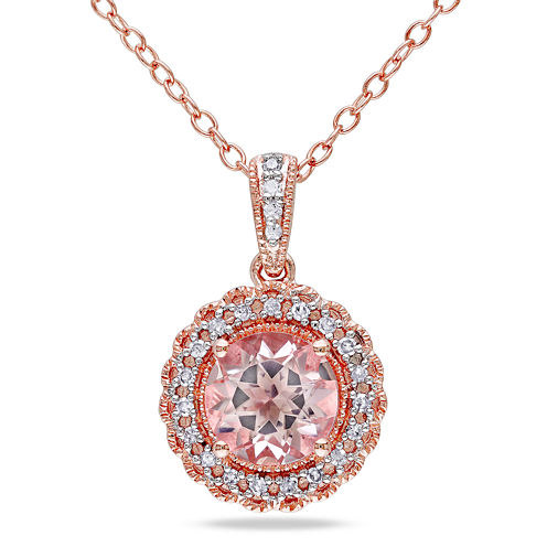 Genuine Morganite & Diamond 14K Rose Gold Over Sterling Silver Pendant Necklac