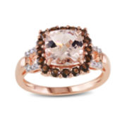 Genuine Morganite, Smoky Quartz and Diamond-Accent Cushion-Cut Ring