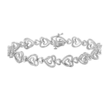 jcpenney.com | ForeverMine® 1/10 CT. T.W. Diamond Sterling Silver Heart-Linked Bracelet