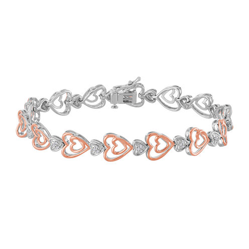 ForeverMine® 1/10 CT. T.W. Diamond 14K Rose Gold/Sterling Silver Heart Bracelet