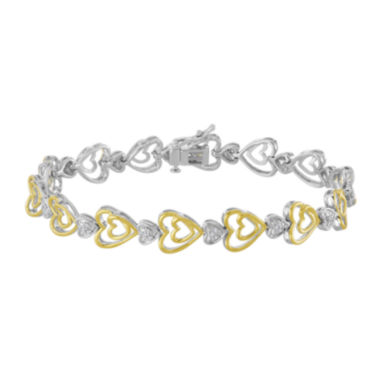 jcpenney.com | ForeverMine® 1/10 CTTW Diamond 14K Yellow Gold/Sterling Silver Heart Bracelet