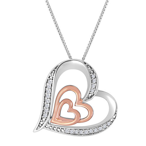 ForeverMine® 1/10 CT. T.W. Diamond Two-Tone Double-Heart Pendant Necklace