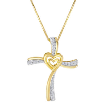 jcpenney.com | ForeverMine® 1/10 CT. T.W. Diamond 14K Yellow Gold/Sterling Silver Cross Pendant
