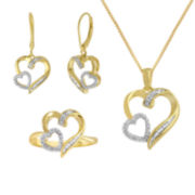 1/10 CT. T.W. Diamond Double-Heart Boxed 3-pc. Jewelry Set
