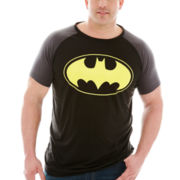 Batman™ Logo Raglan-Sleeve Poly Graphic Tee–Big & Tall