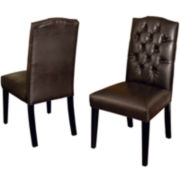 Bilson Set of 2 Tufted Bonded Leather Dining Chairs