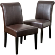 Cadence Set of 2 Roll-Top Bonded Leather Dining Chairs