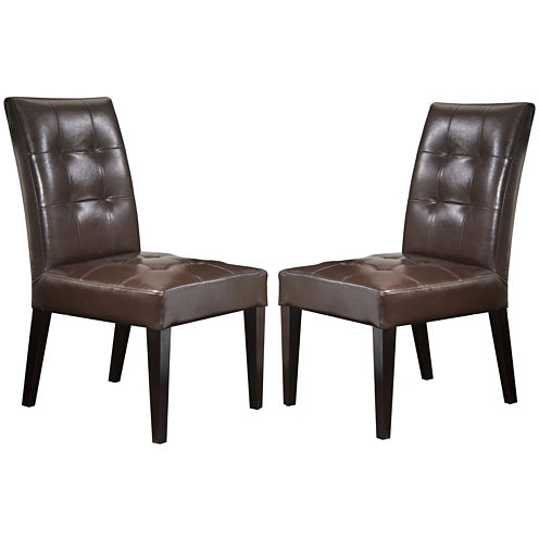 Delaney Set of 2 Bonded Leather Dining Chairs