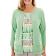 Alfred Dunner® High Tea 3/4-Sleeve Layered Sweater