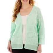Alfred Dunner® Long-Sleeve Pointelle Cardigan Sweater - Plus