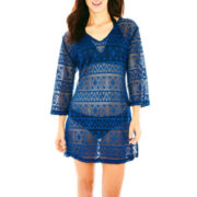 Porto Cruz® 3/4-Sleeve Crochet Tunic Cover-Up
