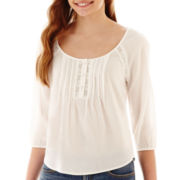 Arizona 3/4-Sleeve Pintuck Peasant Top