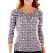 Liz Claiborne® 3/4-Sleeve Pleat-Neck Knit Top
