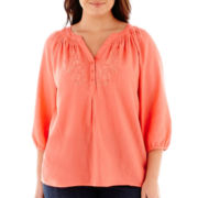 St. John's Bay® Smocked Peasant Top - Plus