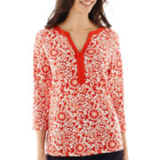 St. John's Bay® 3/4-Sleeve Scroll Print Split-Neck Henley