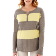 Liz Claiborne® Long-Sleeve Block-Striped Tee