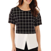 Worthington® Short-Sleeve Fabric-Mix Top