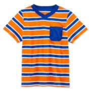 Okie Dokie® Short-Sleeve Striped V-Neck Tee - Boys 2t-5t