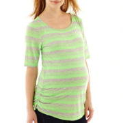 Maternity Elbow-Sleeve Striped Ruched Tee