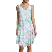 Bisou Bisou® Sleeveless Floral Print Blouson Dress