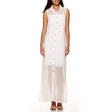 jcpenney.com | Fifth & Park Sleeveless Sheer Button-Up Maxi Dress