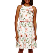 Danny & Nicole® Sleeveless Halter Neck Floral Fit And Flare Dress