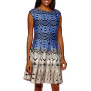 Danny & Nicole® Sleeveless Geo Print Fit-and-Flare Dress