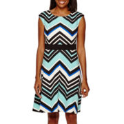 Studio 1® Sleeveless Chevron Fit and Flare Dress
