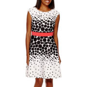 Studio 1® Sleeveless Dot Fit and Flare Dress