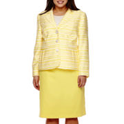 Isabella Long-Sleeve Striped Jacket and Skirt Suit - Plus