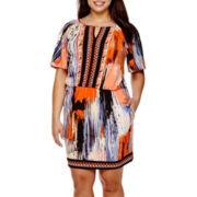 Trulli Short-Sleeve Print Fit-and-Flare Dress - Plus