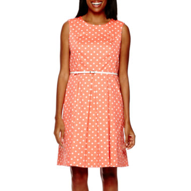 Liz Claiborne Sleeveless Polka Dot Fit and Flare Dress