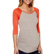 Zoomers Inc. Maternity 3/4 Raglan Sleeve Side-Ruched Colorblock T-Shirt - Plus