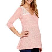 Maternity 3/4-Sleeve Lace-Shoulder T-Shirt