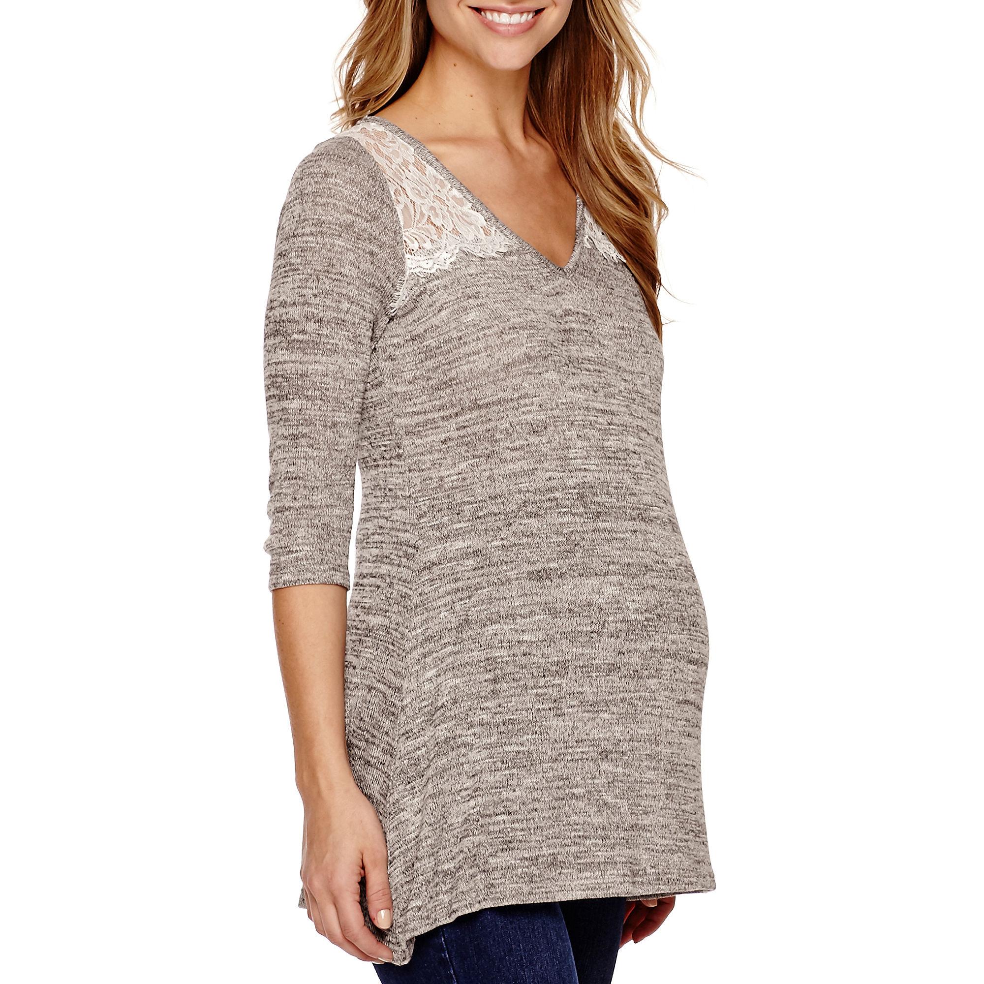 Maternity Lace Shoulder 3/4-Sleeve Top - Plus plus size,  plus size fashion plus size appare
