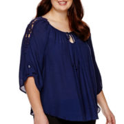 by&by 3/4-Sleeve Crochet-Shoulder Peasant Top - Juniors Plus