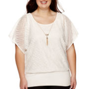 by&by Dolman Short-Sleeve Textured Necklace Top - Juniors Plus