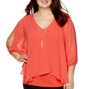 by&by Cold-Shoulder 3/4-Sleeve Split-Front Necklace Top - Juniors Plus