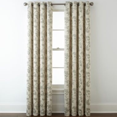 jcpenney.com | Home Expressions™ Glendale Leaf Grommet-Top Blackout Curtain Panel