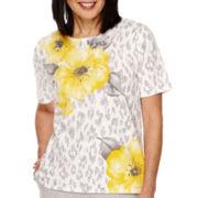 Alfred Dunner® Santa Clara Short Sleeve Print Sweater