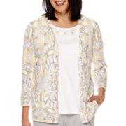 Alfred Dunner® Santa Clara  3/4 Sleeve Layered Sweater