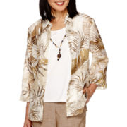 Alfred Dunner® African Safari 3/4-Sleeve Layered Shirt