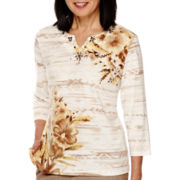Alfred Dunner® African Safari  3/4 Sleeve Print Top