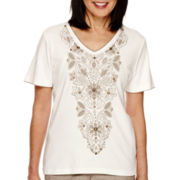 Alfred Dunner® African Safari  Short Sleeve Embroidery Top