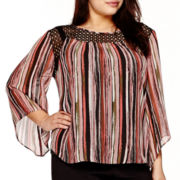 Alyx® 3/4 Bell-Sleeve Lace-Neck Print Top - Plus