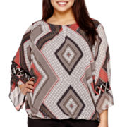 Alyx® Lattice Bell-Sleeve Printed Bubble Top - Plus