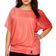 Alyx® Textured Knit Dolman with Banded Bottom - Plus